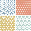 vector four abstract edgy geometric pink seamless patterns set