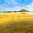 Saint Malo Fort National island and rocks, low tide. Brittany, F