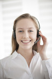 portrait of a beautiful young woman with headphones