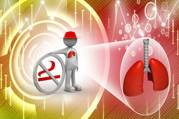 3d man with no smoking symbol and lungs