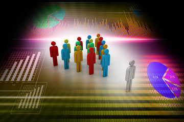3d people arrange in que