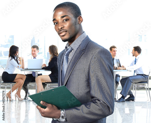 african american businessman in modern office