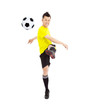 soccer player shooting a ball