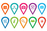 Set of icons for web, markers on maps or design