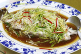 Seabass fish steamed with soy sauce