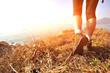 hiking legs stand seaside mountain peak