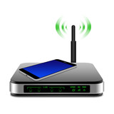 smartphone on wireless Router with the antenna illustration