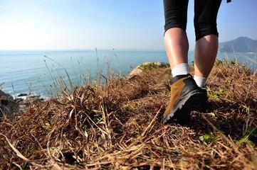 hiking legs seaside mountain peak