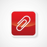 Icon of Attachment on Red Glossy Button. Eps-10