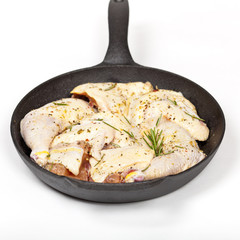 Raw Chicken with Rosemary ready to cook