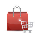 shopping cart and bag illustration design
