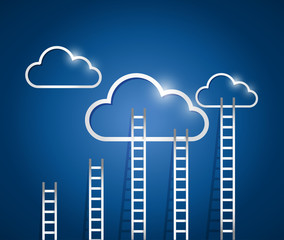 ladders to a cloud illustration design