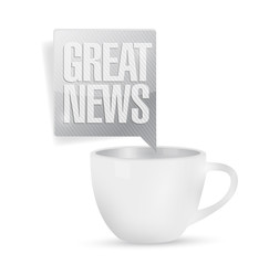 great news and coffee mug. illustration design
