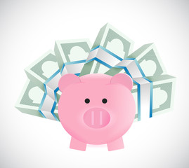 piggybank around money illustration design