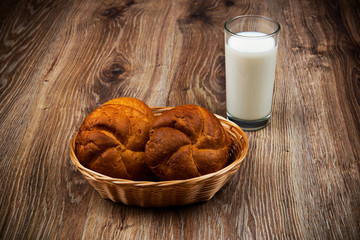 Bread and a glass of milk on the wooden table