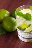 Mohito cocktail with lime and mint