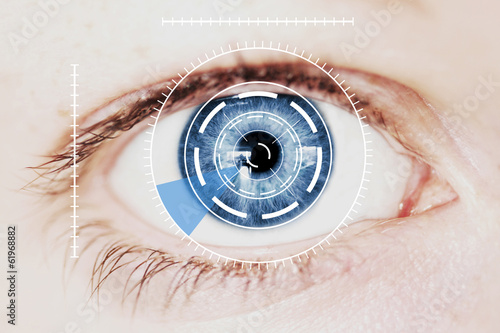 Security Iris Scanner on Intense Blue Human Eye