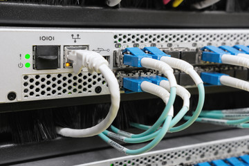 optic fiber cables connected to switch