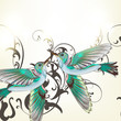 Beautiful vector background with humming birds in watercolor sty