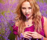 Beautiful girl on the lavender field