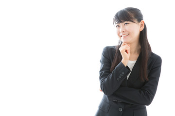 young asian businesswoman thinking