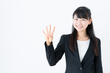 young asian businesswoman counting