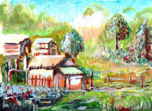 Fototapeta oil painting Village