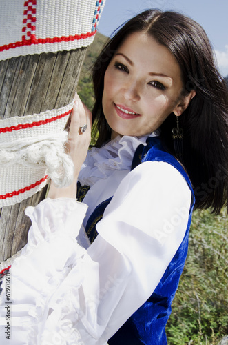 Kazakh young woman outdoor