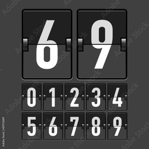 Mechanical timetable, scoreboard, display numbers