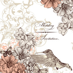 Wedding invitation card with birds and  butterflies