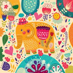 Print with elephant
