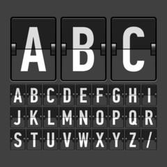 Mechanical timetable, information board, display alphabet