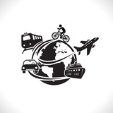 World travel and transportation symbol concept, vector