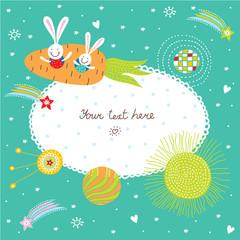 Cute bunnies fly in space. Postcard.