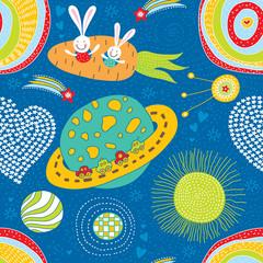 Cute bunnies fly in space.