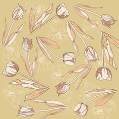 Retro background with  tulips and amarilis. Vector illustration