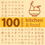 set of 100 icons of different types of cookware, food, fruits an