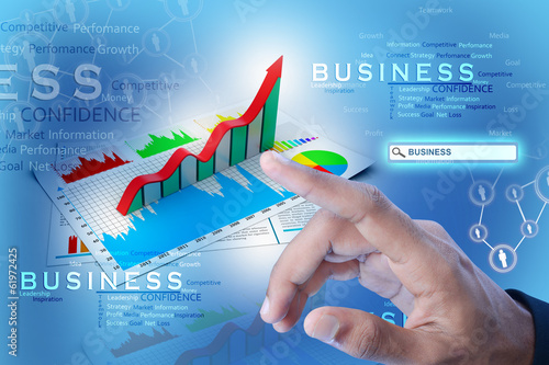 Man showing business report and growth graph