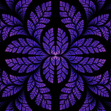 Fabulous symmetric pattern of the leaves in purple. Computer gen