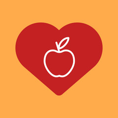 Heart with an apple.