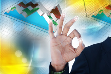 Man showing financial graph
