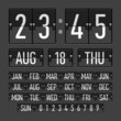 Flip clock template with time, date and day