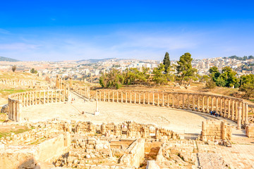 Oval Forum in the ancient Jordanian city of Jerash, Jordan.