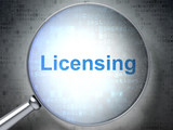 Law concept: Licensing with optical glass