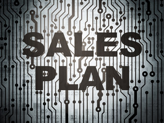 Marketing concept: circuit board with Sales Plan