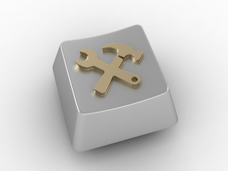 Silver key button with tools icon