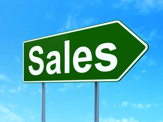 Marketing concept: Sales on road sign background