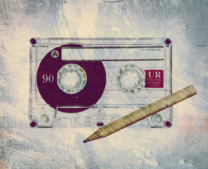 retro grunge tape and pencil