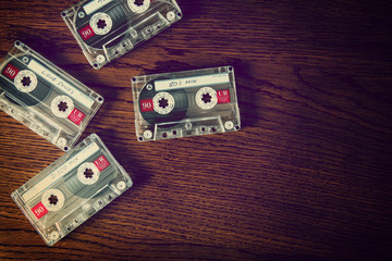 cassettes on wood