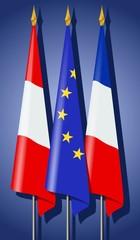 Drapeaux : Europe, France et Autriche
